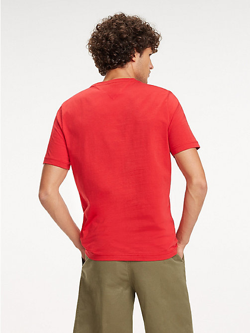 TOMMY HILFIGER Baumwoll-T-Shirt mit Monogramm-Patch - HAUTE RED - TOMMY HILFIGER NEW IN - main image 1
