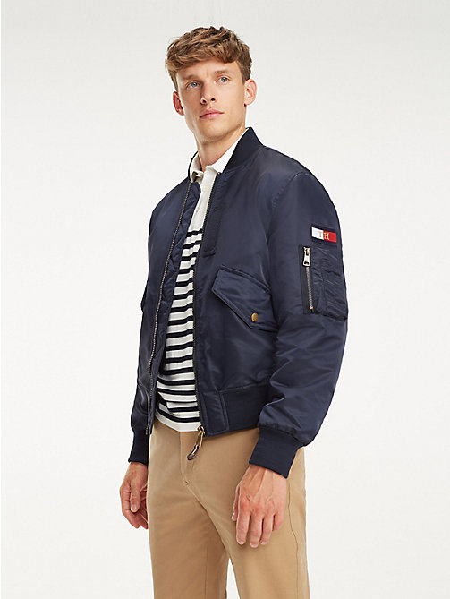 TOMMY HILFIGER Signature Tape Bomber Jacket - SKY CAPTAIN - TOMMY HILFIGER NEW IN - main image