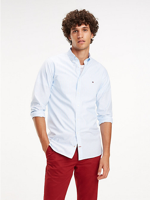 TOMMY HILFIGER Essential Slim Fit Stripe Shirt - SOFT BLUE / MULTI - TOMMY HILFIGER Casual Shirts - detail image 1