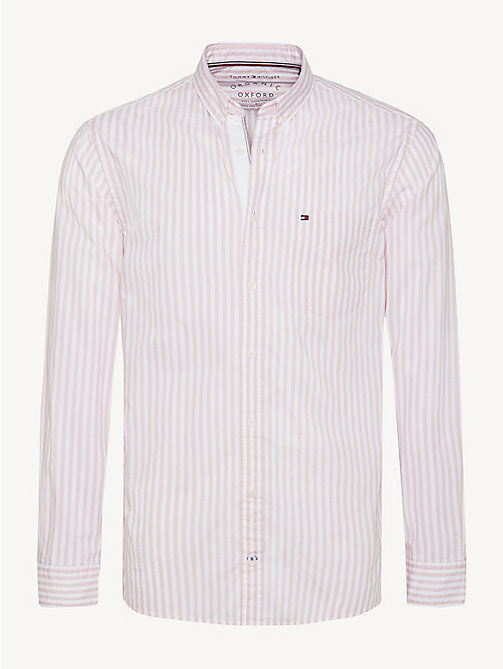 TOMMY HILFIGER Essential Pure Cotton Stripe Shirt - CORAL BLUSH / BRIGHT WHITE - TOMMY HILFIGER Casual Shirts - main image