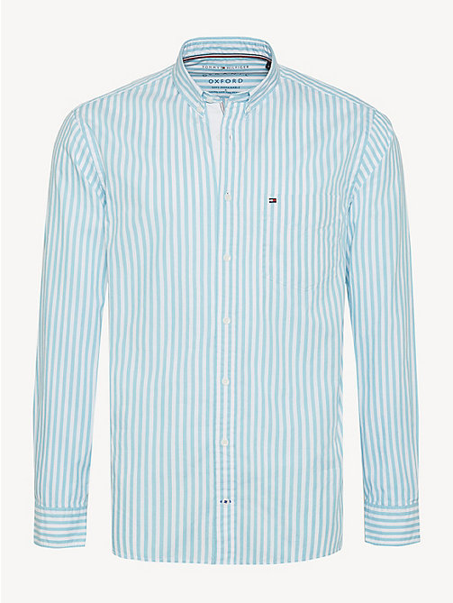 TOMMY HILFIGER Essential Pure Cotton Stripe Shirt - AQUARELLE / BRIGHT WHITE - TOMMY HILFIGER Casual Shirts - main image
