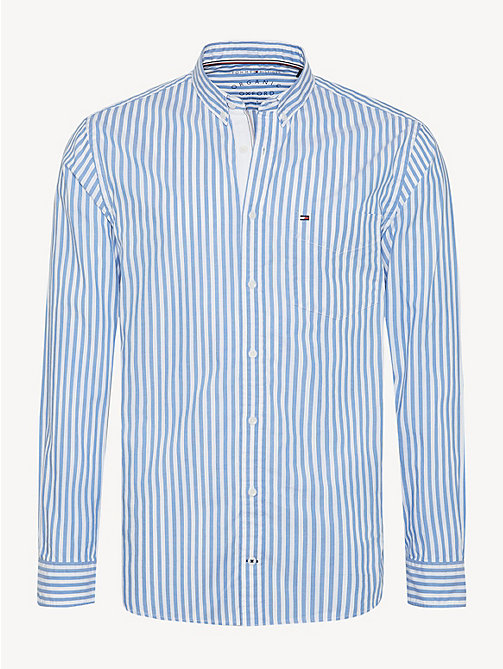 TOMMY HILFIGER Essential Pure Cotton Stripe Shirt - REGATTA / BRIGHT WHITE - TOMMY HILFIGER Casual Shirts - main image
