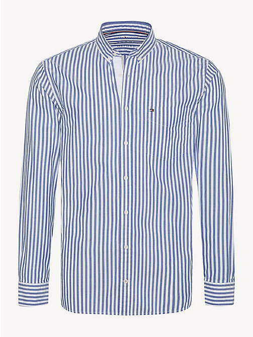 TOMMY HILFIGER Essential Pure Cotton Stripe Shirt - BLUE QUARTZ / BRIGHT WHITE - TOMMY HILFIGER Casual Shirts - main image