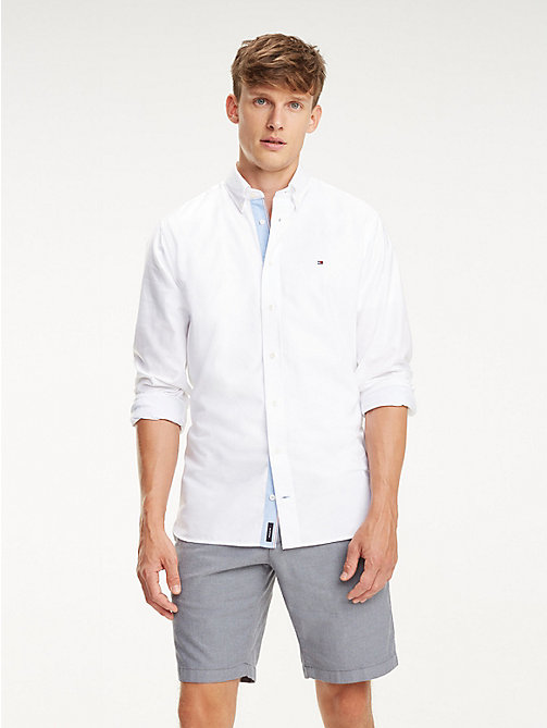 TOMMY HILFIGER Essential Pure Cotton Regular Fit Shirt - BRIGHT WHITE - TOMMY HILFIGER Casual Shirts - detail image 1