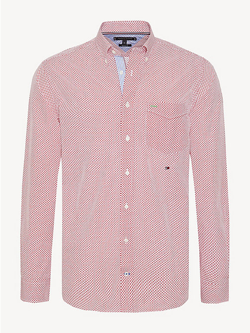 TOMMY HILFIGER Essential Geometric Print Cotton Shirt - HAUTE RED / MULTI - TOMMY HILFIGER Casual Shirts - main image