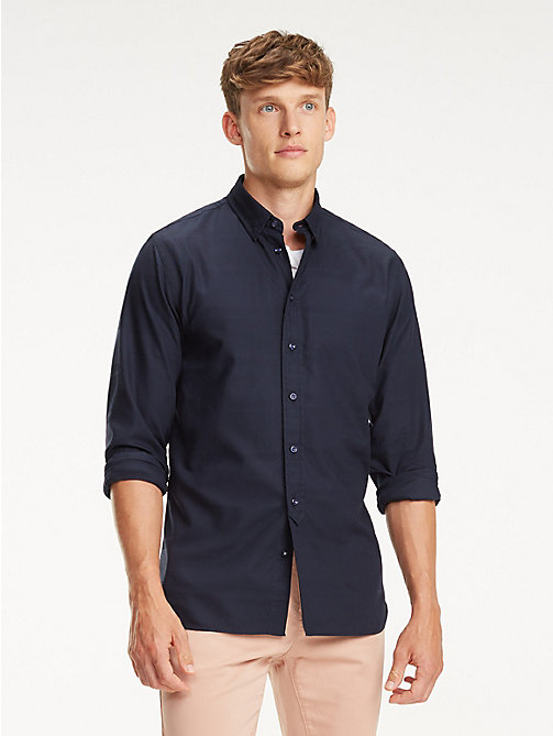 TOMMY HILFIGER Pure Cotton Dobby Shirt - SKY CAPTAIN - TOMMY HILFIGER Casual Shirts - detail image 1
