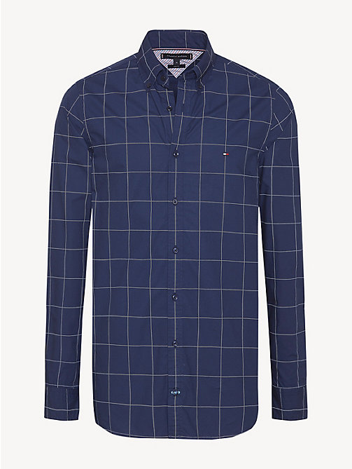 TOMMY HILFIGER Windowpane Check Slim Fit Shirt - PEACOAT / BRIGHT WHITE - TOMMY HILFIGER Casual Shirts - main image