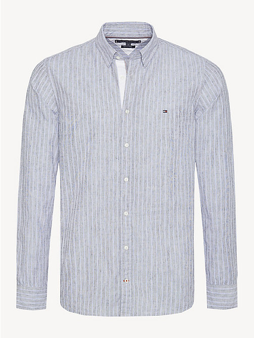 TOMMY HILFIGER All-Over Stripe Cotton Linen Shirt - SKY CAPTAIN / MULTI - TOMMY HILFIGER Casual Shirts - main image