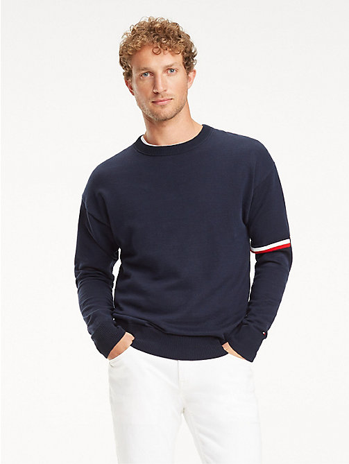 TOMMY HILFIGER Signature Tape Crew Neck Sweatshirt - BLACK IRIS - TOMMY HILFIGER NEW IN - main image