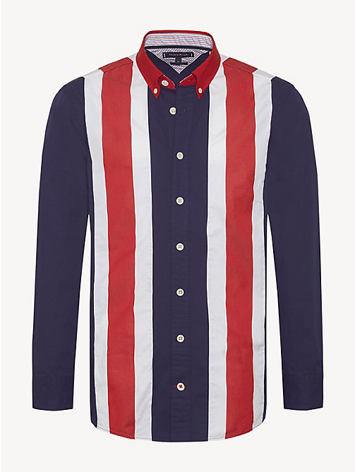 TOMMY HILFIGER Pure Cotton Oversized Shirt - PEACOAT / MULTI - TOMMY HILFIGER NEW IN - main image