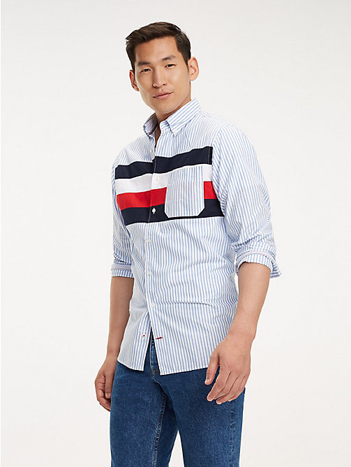 TOMMY HILFIGER Signature Panel Cotton Shirt - SHIRT BLUE / MULTI - TOMMY HILFIGER Casual Shirts - detail image 1