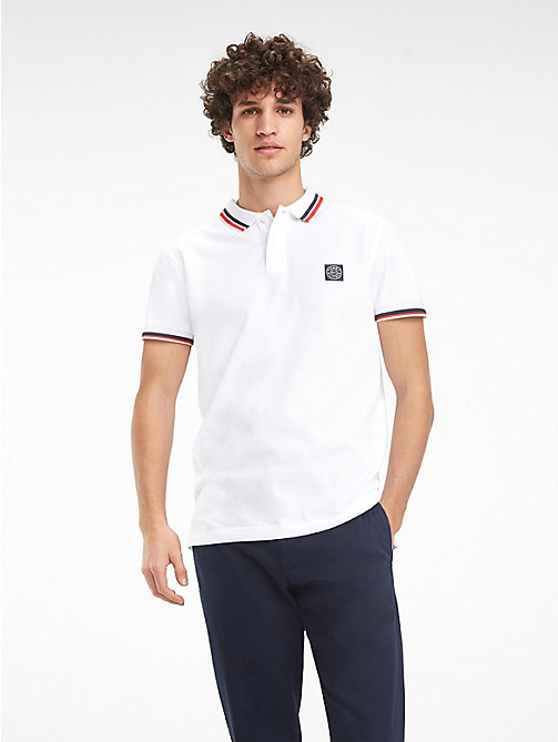 TOMMY HILFIGER Big & Tall Long-Sleeved Polo Shirt - BRIGHT WHITE - TOMMY HILFIGER Big & Tall - main image