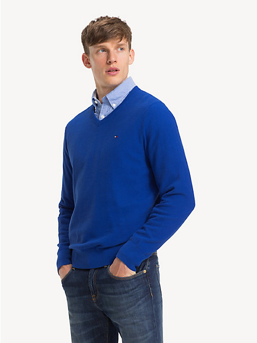 TOMMY HILFIGER Big & Tall Pure Cotton V-Neck Jumper - SURF THE WEB -  Jumpers - main image