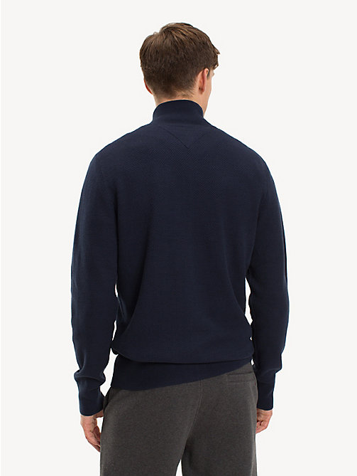 TOMMY HILFIGER Big & Tall Pure Cotton Zip-Thru Jumper - SKY CAPTAIN - TOMMY HILFIGER Cardigans - detail image 1
