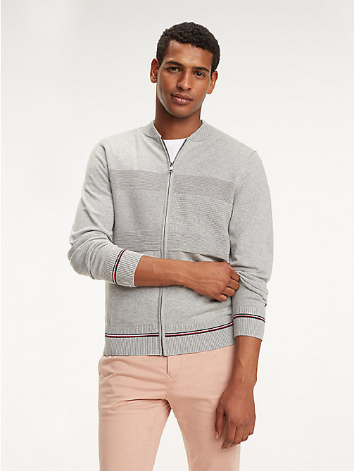 TOMMY HILFIGER Abstract Flag Zip Jumper - CLOUD HTR - TOMMY HILFIGER Jumpers - main image