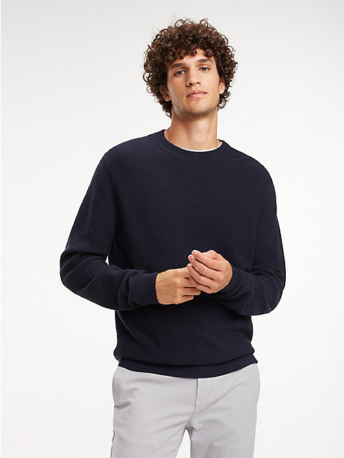 TOMMY HILFIGER Knit Crew Neck Jumper - SKY CAPTAIN - TOMMY HILFIGER Jumpers - main image
