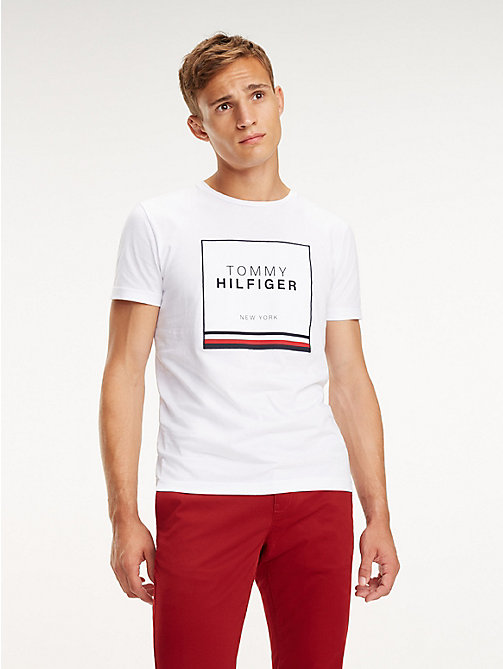 TOMMY HILFIGER Logo Crew Neck T-Shirt - BRIGHT WHITE - TOMMY HILFIGER T-Shirts - main image