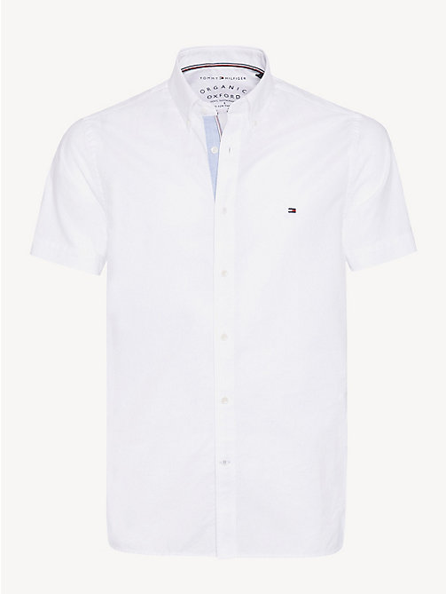 TOMMY HILFIGER Short Sleeve Cotton Shirt - BRIGHT WHITE - TOMMY HILFIGER Casual Shirts - main image