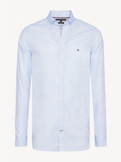 TOMMY HILFIGER Cotton Dobby Slim Fit Shirt - REGATTA / BRIGHT WHITE - TOMMY HILFIGER Casual Shirts - main image