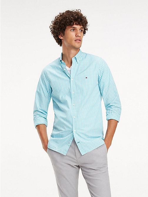 TOMMY HILFIGER Check Slim Fit Shirt - AQUARELLE / BRIGHT WHITE - TOMMY HILFIGER Casual Shirts - detail image 1