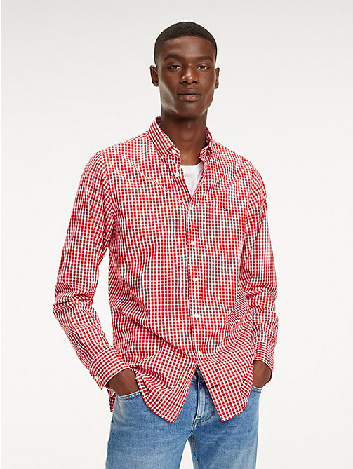 TOMMY HILFIGER Check Slim Fit Shirt - HAUTE RED / BRIGHT WHITE - TOMMY HILFIGER Casual Shirts - detail image 1