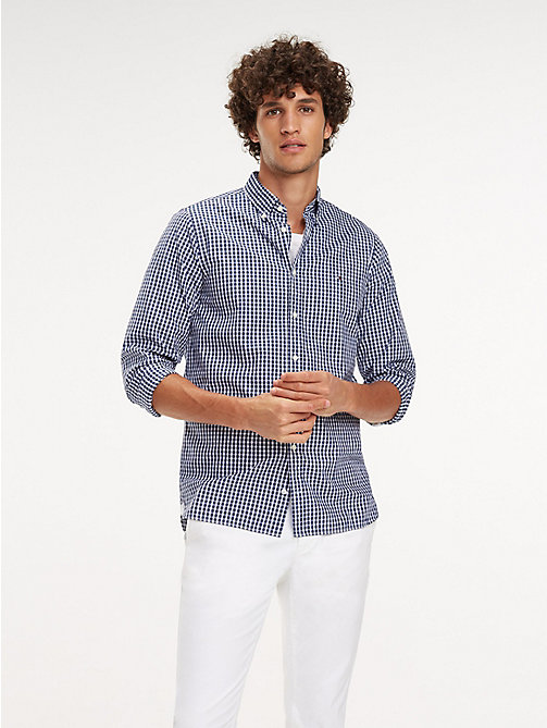 TOMMY HILFIGER Check Slim Fit Shirt - MEDIEVAL BLUE / BRIGHT WHITE - TOMMY HILFIGER Casual Shirts - detail image 1