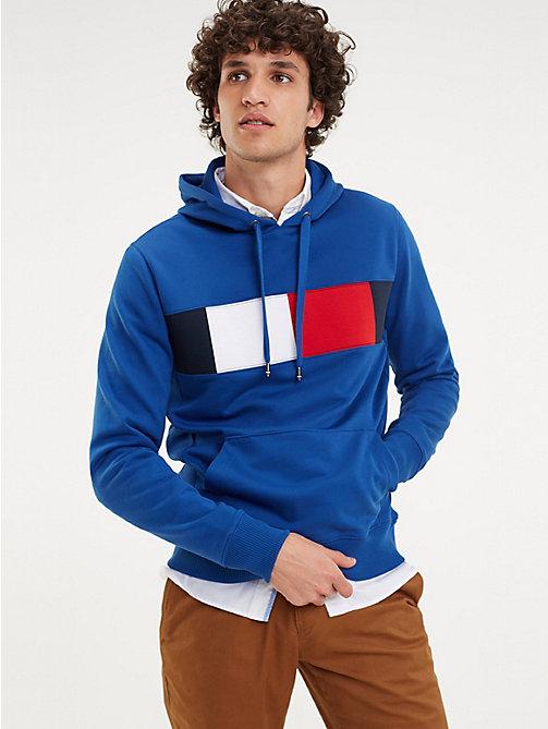 65d5014b7 sudadera color block con capucha y cordón blue de hombre tommy hilfiger