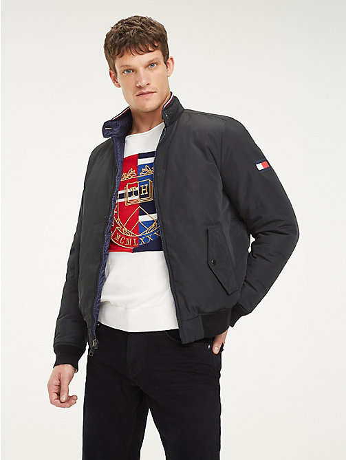 883335cf251 blue reversible down-filled harrington jacket for men tommy hilfiger