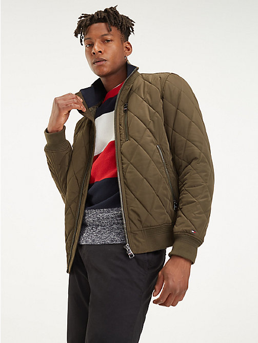 690301c1e494d green diamond quilted bomber jacket for men tommy hilfiger