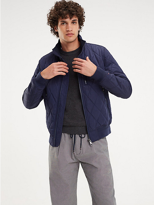 5ae81e7750748 blue diamond quilted bomber jacket for men tommy hilfiger