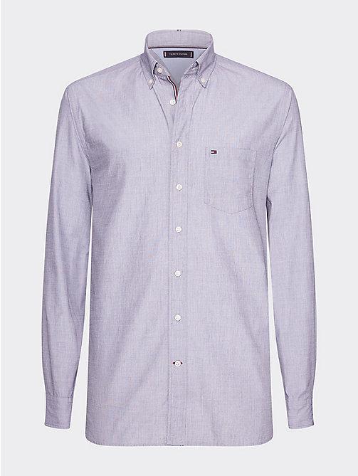 3cd5747d blue regular fit cotton dobby shirt for men tommy hilfiger