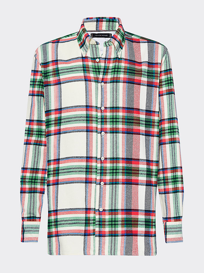 beige relaxed fit blown up check shirt for men tommy hilfiger