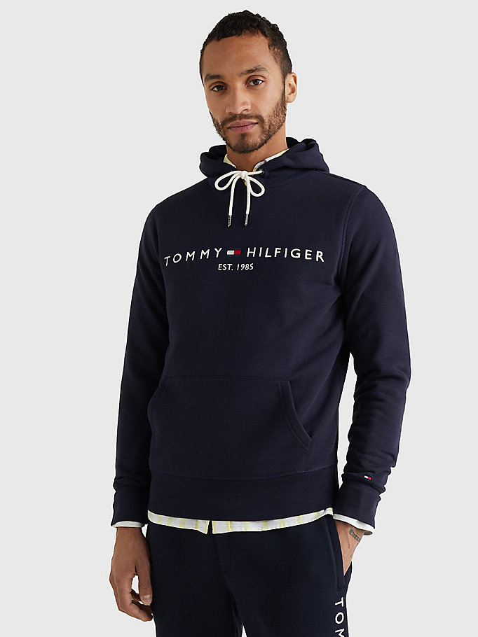 blue logo flex fleece hoody for men tommy hilfiger