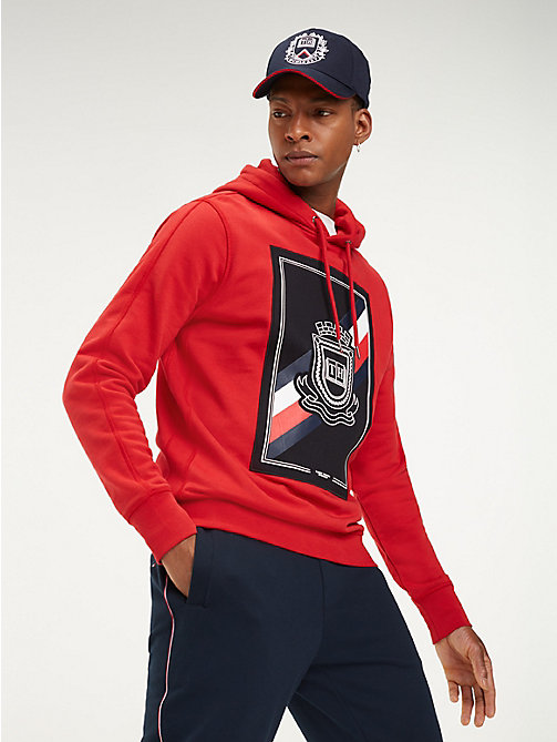 be9d5cb11338d red crest drawstring hoody for men tommy hilfiger