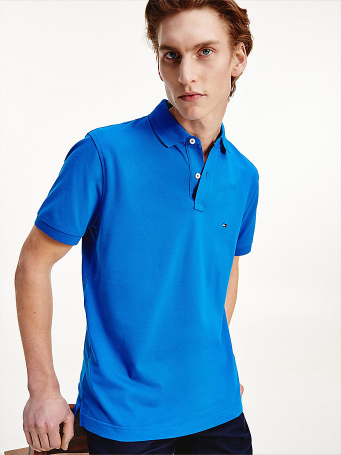 blue heathered pure cotton tommy polo for men tommy hilfiger