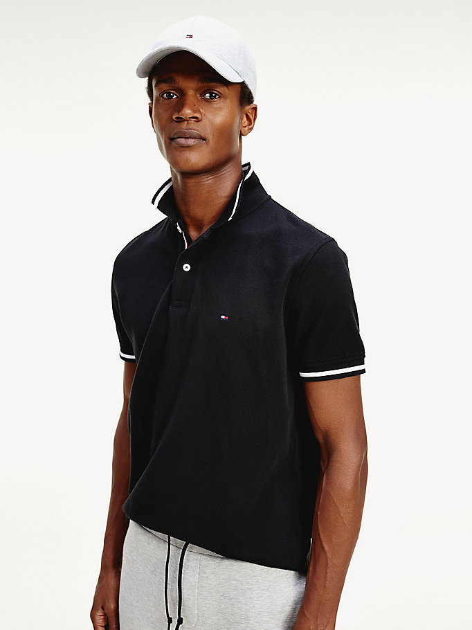 black tipped collar regular fit polo for men tommy hilfiger