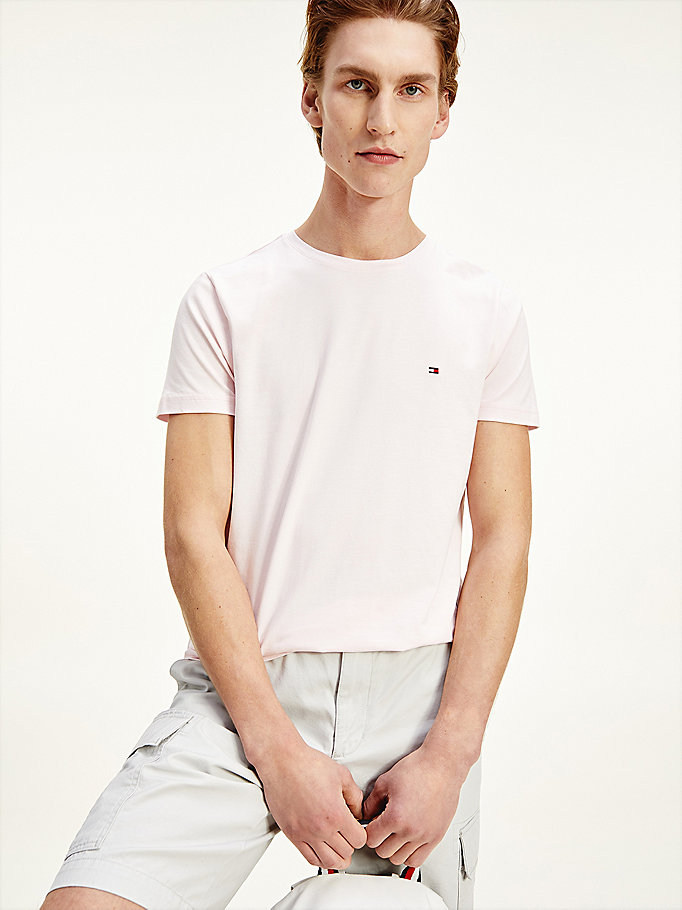 pink stretch organic cotton slim fit t-shirt for men tommy hilfiger