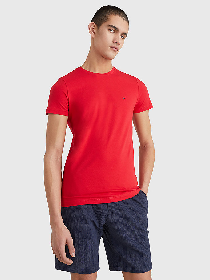 red stretch organic cotton slim fit t-shirt for men tommy hilfiger