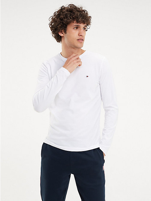 010fb3f1225454 white organic cotton long sleeve t-shirt for men tommy hilfiger