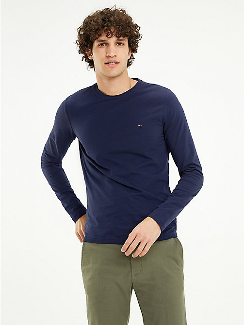 425edaf8 blue organic cotton long sleeve t-shirt for men tommy hilfiger