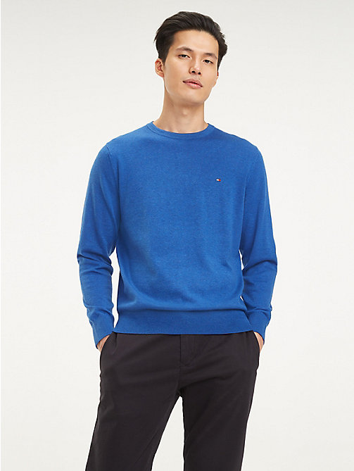 c5f75d7afb0960 blue organic cotton silk crew neck jumper for men tommy hilfiger