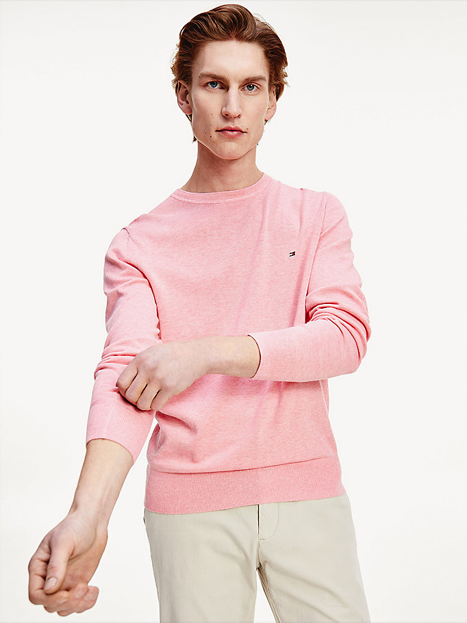 pink organic cotton silk jumper for men tommy hilfiger