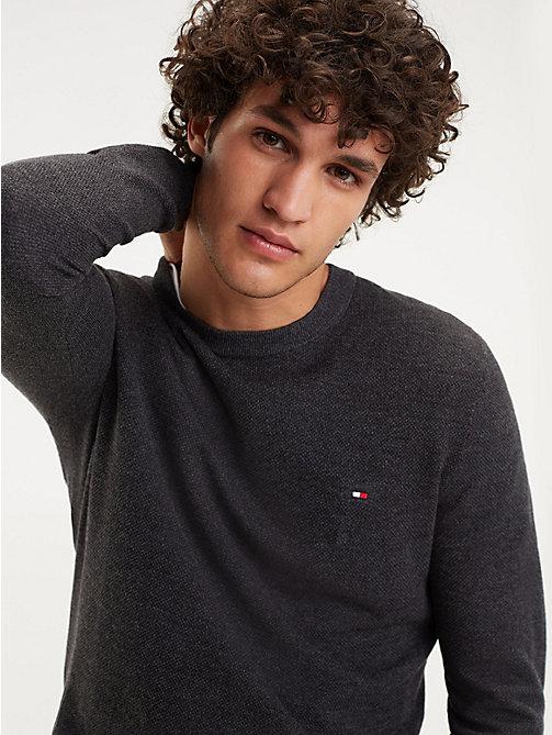 ba3474e240f98f grey pullover aus reiner mouliné-baumwolle für herren - tommy hilfiger