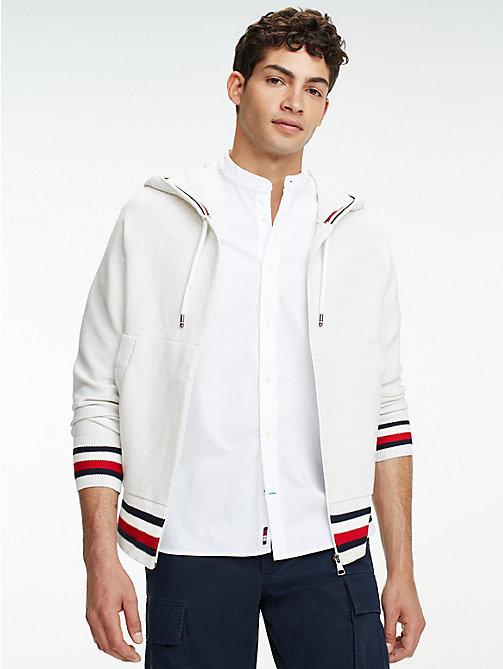 e777597cba2112 white reißverschluss-hoodie aus reiner baumwolle für herren - tommy hilfiger