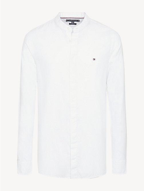 d57c79af6e24ea white koszula ze stójką z bawełny dobby dla mężczyźni - tommy hilfiger