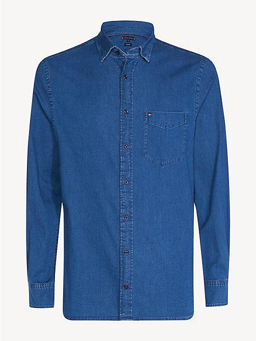 120423affdfa87 blue jeanshemd mit stretch für herren - tommy hilfiger