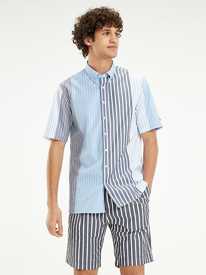 5b3d45f7e Relaxed Fit Short Sleeve Mixed Stripe Shirt | Tommy Hilfiger