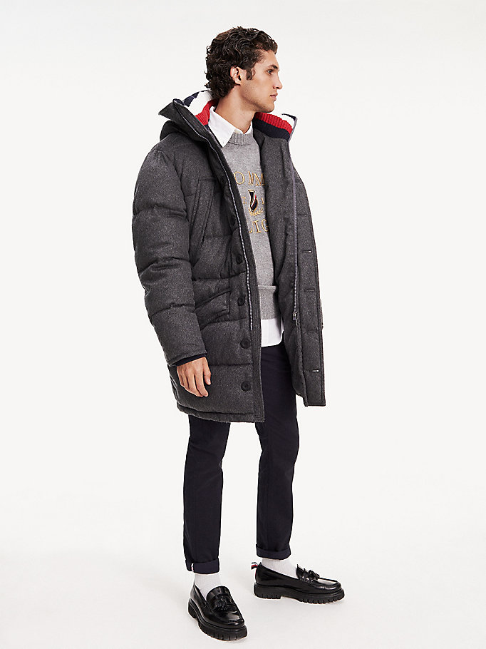 grey icon wool hooded parka for men tommy hilfiger