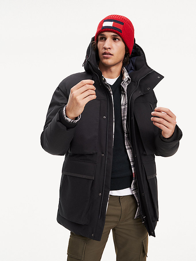 black padded heavy canvas parka for men tommy hilfiger