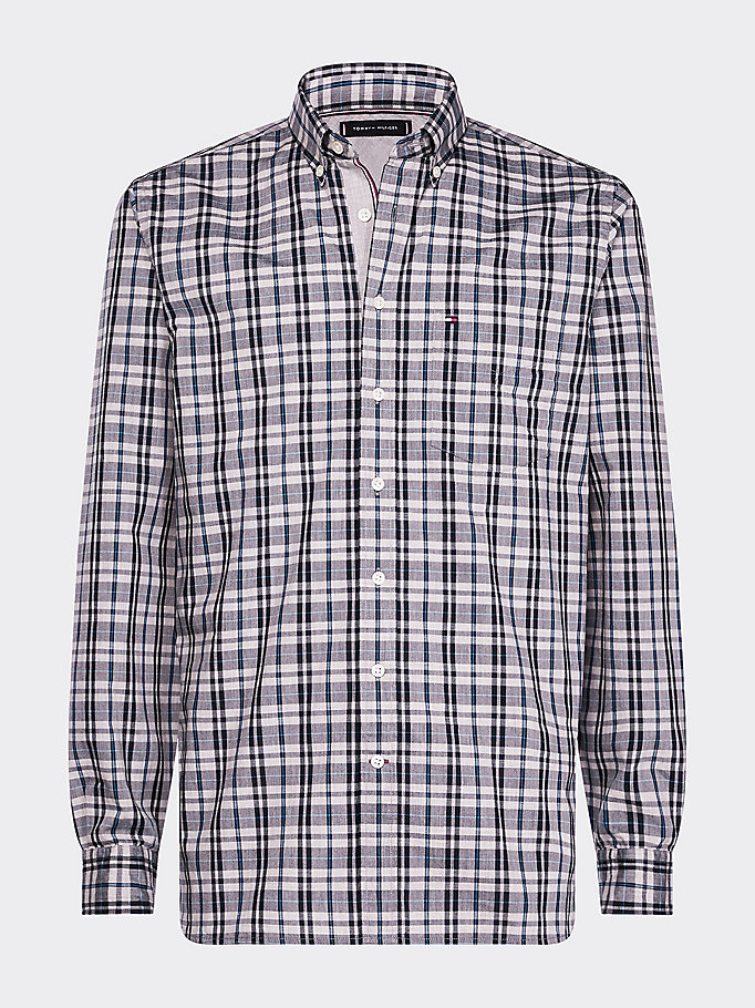 blue regular fit windowpane check shirt for men tommy hilfiger